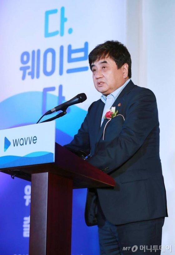 한상혁 방송통신위원장이 16일 오후 서울 중구 정동1928 아트센터에서 열린 지상파 방송3사·SK텔레콤 통합 OTT 서비스 웨이브(wavve) 출범식에서 축사를 하고 있다. 웨이브는 지상파 방송3사가 설립한 콘텐츠연합플랫폼의 OTT '푹'(POOQ)과 SK텔레콤의 OTT '옥수수' 서비스를 통합해 출범하는 새로운 서비스로 오는 18일부터 서비스를 시작한다. / 사진=이동훈 기자 photoguy@