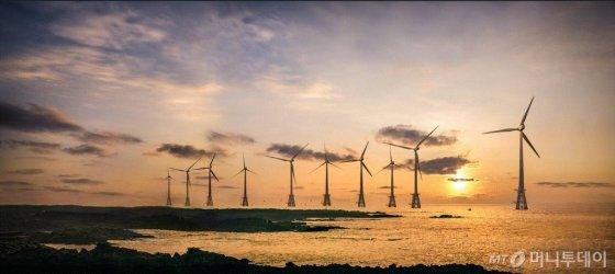 제주 한경면 두모리~금등리 공유수면 일원에 자리한 탐라해상풍력 단지 전경/사진제공=한국에너지공단