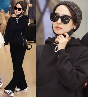 조여정 귀국 패션, 비니+선글라스…