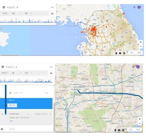 모든 기간 동안 사용자가 방문한 장소(위)과 1일 위치 이동 경로(아래). / 사진 = 구글 지도