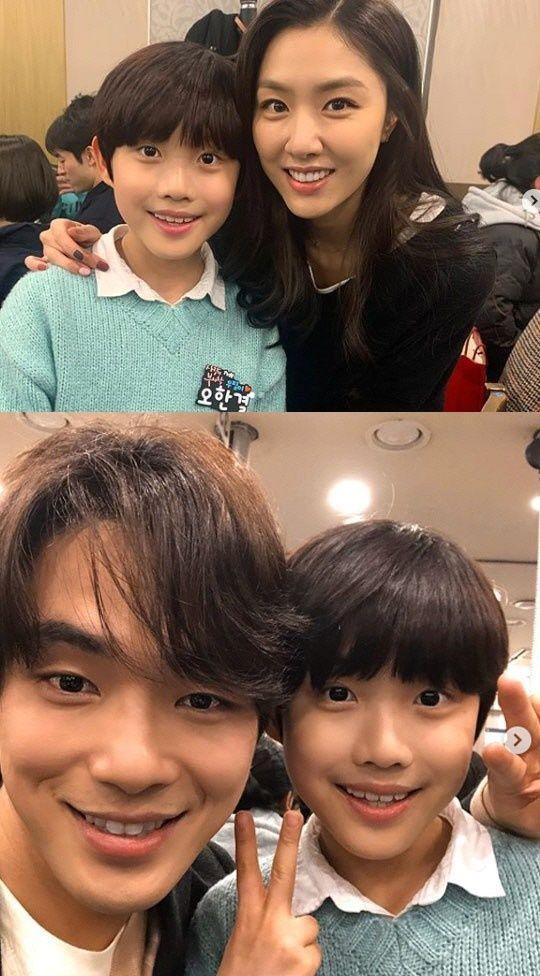 아역 배우 오한결이 지난 16일 자신의 인스타그램을 통해 '사랑의 불시착' 배우들과 찍은 종방연 사진을 공개했다./사진=오한결 인스타그램 캡처<br />