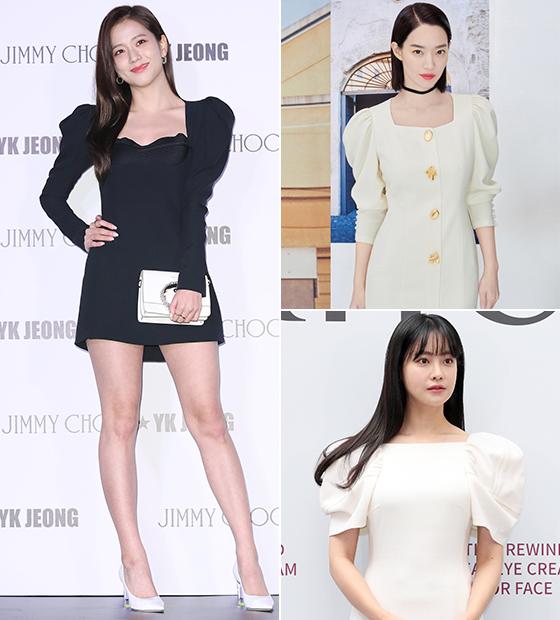 퍼프 소매 원피스를 선택한 그룹 블랙핑크 지수, 배우 신민아, 오연서/사진=뉴스1, 미샤