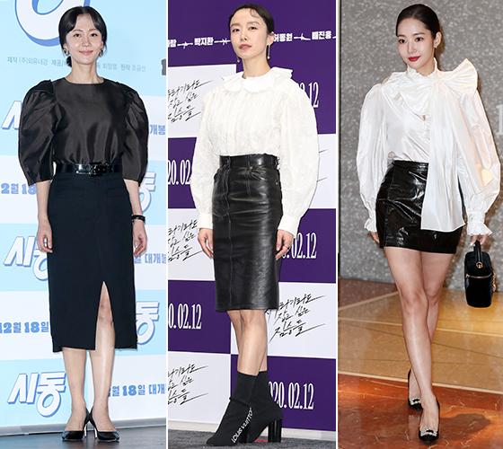 퍼프 블라우스와 슬림한 스커트로 멋을 낸 배우 염정아, 전도연, 박민영/사진=뉴스1