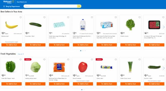월마트 신선식품 픽업 서비스. /사진=월마트 웹페이지.