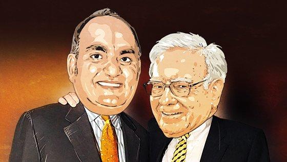 모니시 파브라이(왼쪽)과 워런 버핏/그래픽=임종철 디자인기자