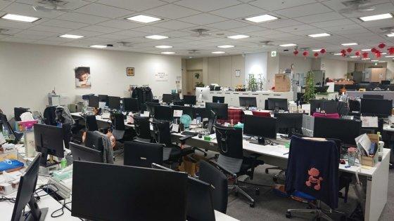 GMO 인터넷의 텅 빈 사무실. /사진=회사 블로그
