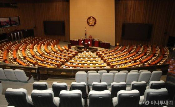 코로나19 확산 영향으로 24일 오후 예정됐던 국회 본회의가 연기된 가운데 서울 여의도 국회 본회의장이 비어 있다. /홍봉진 기자