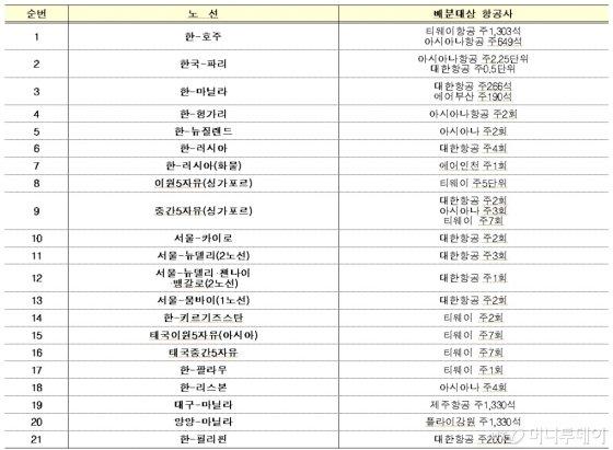 21개 국제 노선 운수권 배분 결과, /자료=국토교통부