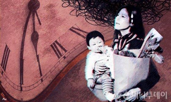 삽화, 여자,맞벌이,육아,전업주부,시계,시간,워킹맘 / 사진=김현정디자인기자