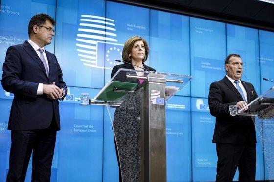 스텔라 키리아키데스 EU 보건위원장이 7일(현지시간) EU 보건장관들이 모인 회의에서 발언하고 있다/사진=AFP