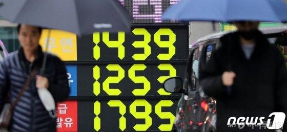 국제유가가 신종 코로나 바이러스 감염증(코로나19)의 전세계적 확산과 사우디아라비아와 러시아 간 감산 갈등으로 20%이상 대폭락했다. 하루 낙폭 기준으로는 걸프전 당시인 1991년 이후 최대다.10일 오후 서울 시내의 한 주유소에서 휘발유가 리터당 1439원, 경유가 1253원에 판매되고 있다. 국제유가 하락은 2~3주 후 국내 기름값에도 반영된다. 2020.3.10/뉴스1