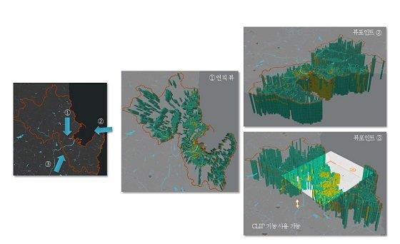 포항 지역 3차원 지진 액상화 위험지도, 다양한 뷰 포인트(View Point)에서 데이터를 시각화하여 볼 수 있다/사진=건설연