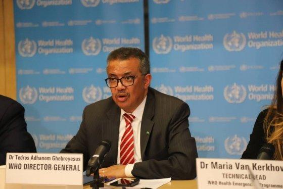 테워드로스 아드하놈 거브러여수스 세계보건기구(WHO) 사무총장이 11일(현지시간) 스위스 제네바의 WHO 본부에서 신종 코로나바이러스 감염증(코로나19) 관련 언론 브리핑을 하고 있다. /사진=뉴시스