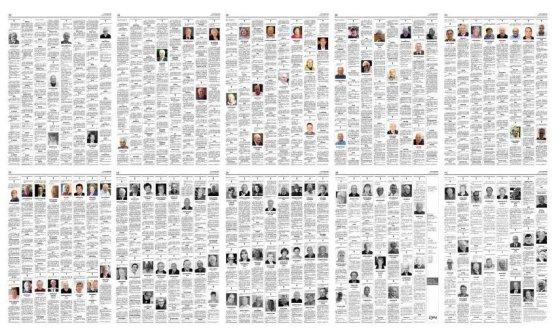 [서울=뉴시스] 이탈리아 베르가모의 일간지 레코 디 베르가모의 부고 지면. 평소 2~3페이지였던 부고면이 코로나 19 사태로 10~11면으로 증면됐다. (사진=레코 디 베르가모) 2020.03.17.  photo@newsis.com