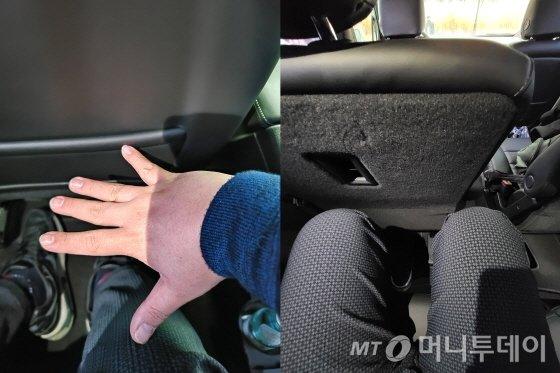 캐딜락 3열 SUV 'XT6' 2열(왼쪽) 레그룸과 3열 레그룸. /사진=유영호 기자