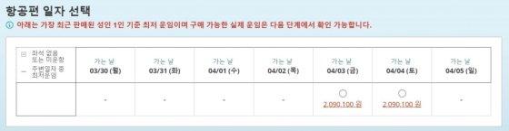 대한항공 홈페이지에서 뉴욕에서 인천으로 오는 편도 티켓을 검색해보니 다음주(3월30일~4월5일) 7일 중 총 2일(4월3일·4일)만 일반석 표를 구할 수 있었다. 다른 날짜는 매진이다./사진=대한항공 홈페이지