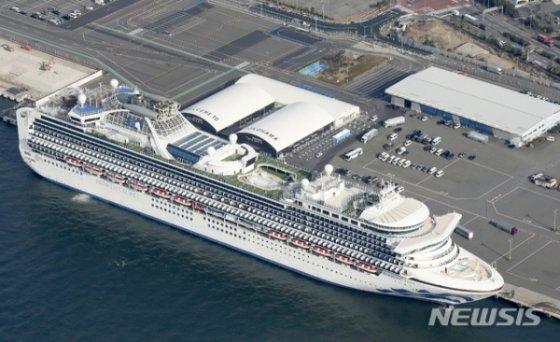 일본 요코하마항에 지난달 12일 대형 유람선(크루즈) '다이아몬드 프린세스'호가 정박해 있다/사진=뉴시스
