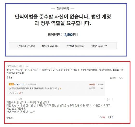 민식이법을 개정해 달라는 국민청원(위)과 관련 기사의 댓글들(아래). /사진 = 청와대, 온라인 커뮤니티