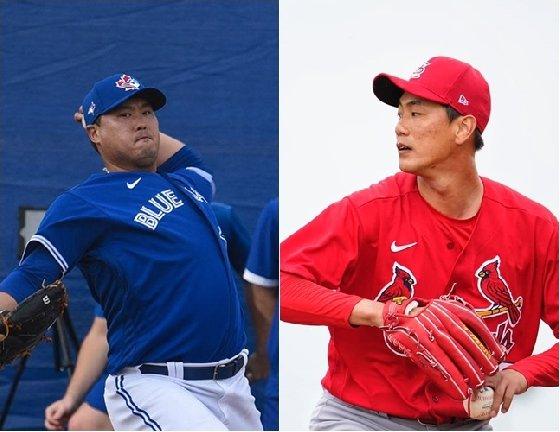 류현진(왼쪽)과 김광현. /사진=토론토, 세인트루이스 공식 SNS