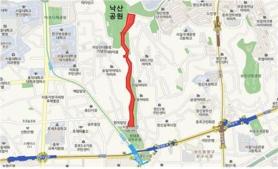 낙산성곽길 위치도/사진=서울시