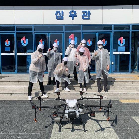 유원대 드론응용학과, '코로나19 감염 예방' 드론 방역 전개