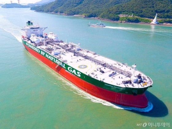 현대삼호중공업이 2018년 7월 인도한 LNG추진선/사진제공=현대중공업그룹