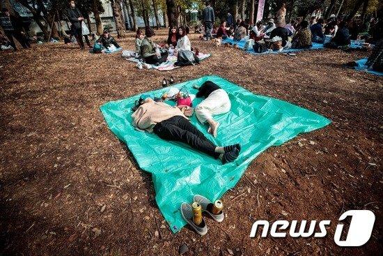 일본 공원의 몸소풍객. © AFP=뉴스1
