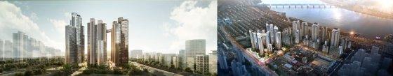 신반포15차 재건축 단지 조감도. 왼쪽이 삼성물산이 제안한 래미안 원펜타스, 오른쪽이 대림산업이 제안한 '아크로 하이드원' 단지. /사진제공=각 사