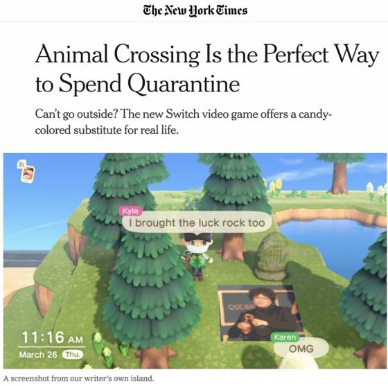 지난달 31일 뉴욕타임스가 닌텐도사의 '동물의 숲' 게임에 대해 올린 기사. /사진=뉴욕타임스 캡처.