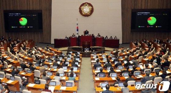 국회 본회의 모습./뉴스1 © News1 김명섭 기자