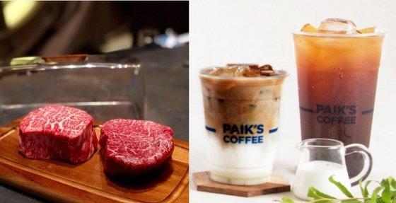 서울 강남 한우오마카세 식당 'RIPE 레스토랑' 한우(왼쪽), 빽다방 커피 /사진=RIPE레스토랑 인스타그램 계정(왼쪽), 빽다방 홈페이지