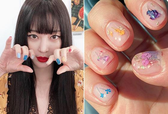 배우 한예슬, 그룹 AOA 설현의 네일아트/사진=각 스타 인스타그램