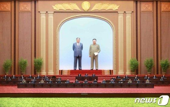 북한 최고인민회의 제14기 제3차 회의가 4월 12일 만수대의사당에서 진행됐다고 노동당 기관지 노동신문이 13일 1면에 보도했다./사진제공=뉴스1