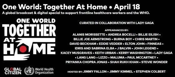 오는 18일(현지시간) 온라인 생중계 되는 One World : Together at Home 공연 라인업 /사진=Global Citizen 홈페이지