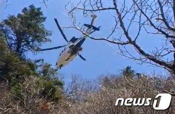 [사진] 지리산 천왕봉 인근 조난 등산객 구조하던 헬기 추락