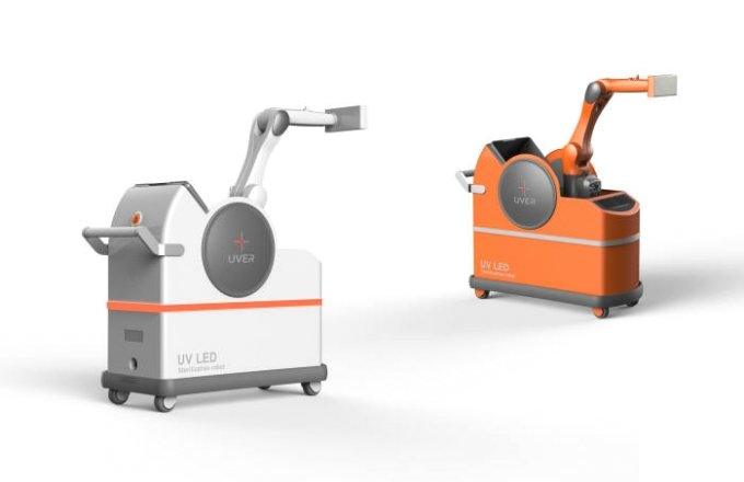 UV LED(자외선 발광다이오드) 응용시스템 업체 유버가 선보인살균로봇/사진=유버