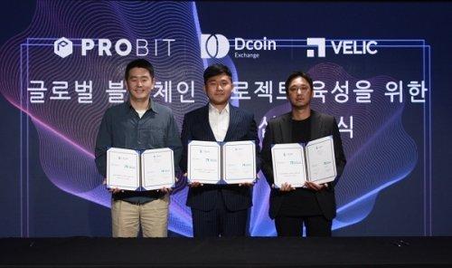 (왼쪽부터)프로비트 도현수 대표, 디코인 서재원 대표, 벨릭 김성현 대표/사진제공=디코인