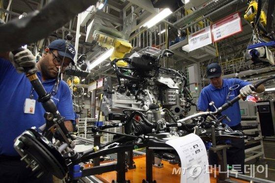 현대차 브라질 공장 생산라인. /사진제공=현대자동차
