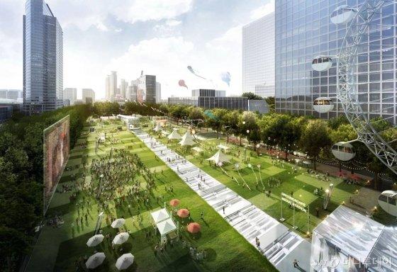 코엑스와 GBC를 연계한 영동대로 일대에는 지하7층 규모의 복합환승센터가 건립된다. 지상을 통행하는 차량도 지하로 들어간다. 복합환승센터에는 GTX A·C, 위례신사선, 지하철 2,9호선 등이 연계돼 수도권 광역 중심의 교통이 된다. 사진=서울시 제공