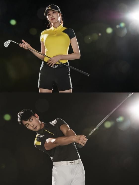 (상단) 여성 소매반전 카라 티셔츠를 착용한 김사랑 (하단)남성 컨피던스 반팔 티셔츠를 착용한 홍순상 /사진제공=와이드앵글