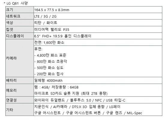 LG Q61 주요 사양
