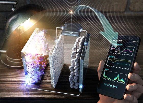 연구 개념도(EES저널 표지):실내조명으로부터 생산·저장된 에너지로 IoT 기기를 작동함으로써 사용자가 실시간으로 실내 환경 정보(온도, 습도)를 확인하는 모습을 보여줌/사진=UNIST