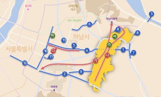 하남 교산 광역교통망 계획안, 가운데 붉은 선으로 표시된 '가'노선이 송파~하남 도시철도 구간이다. /자료=국토교통부