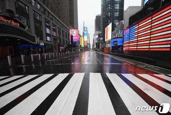 텅 빈 뉴욕 타임스퀘어