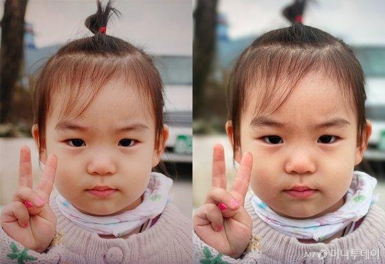 LG 벨벳(왼쪽)과 아이폰SE 인물 사진 촬영 비교.
