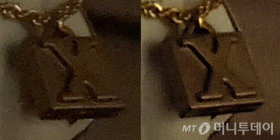 아이폰SE(왼쪽)와 LG 벨벳 실내 저조도 환경 에서 촬영한 사진 확대 비교.