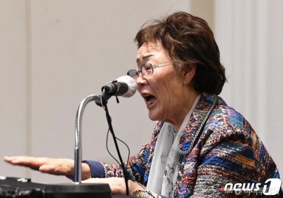 일본군 위안부 피해자 이용수 할머니가 25일 대구 인터불고호텔에서 정의기억연대 문제와 관련해 두번째 기자회견을 하고 있다. /사진=뉴스1