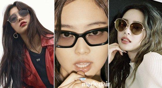 가수 수지, 블랙핑크 제니, 가수 헤이즈 /사진제공=카린, 젠틀몬스터, 지미추 제공
