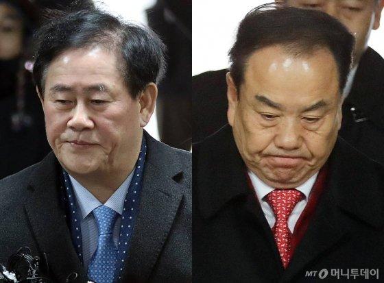 뇌물 수수 등의 혐의를 받고 2018년 1월 구속된 최경환(사진 왼쪽), 이우현 전 자유한국당 의원 /사진=이기범 기자