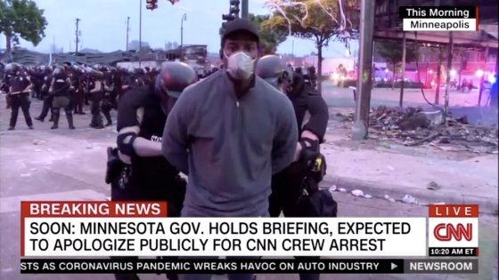 생방송 도중 체포되는 오마르 히메네스 CNN 기자. /사진=AFP